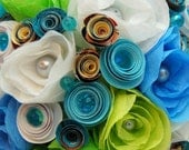 Paper Wedding Bouquet - Blue and Green Paper Flowers