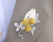 2x  Paper Flower Boutonniere - Yellow and Gray