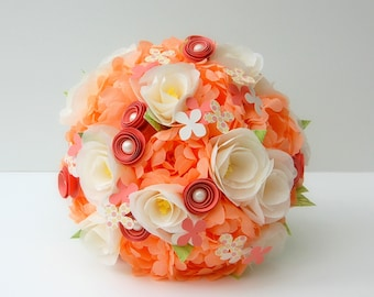 Paper Wedding Flower Bouquet - Peach and Ivory Handmade Paper Flowers Bridal Bouquet