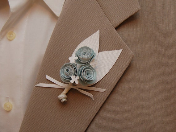 6 Paper Flower Boutonnieres - Baby blue and white paper flowers