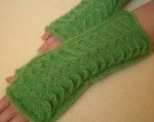 Hand-knitted green fingerless women's gloves