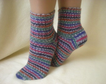 Hand-knitted colourful women's socks, handmade wool socks, knit women's socks