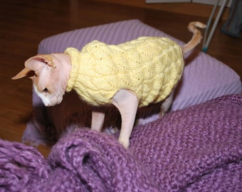 Sphynx sweater,hand-knitted sweater for small dogs or cats, warm cat sweater, handmade sphynx clothes, kitten clothes, knitted cat sweater