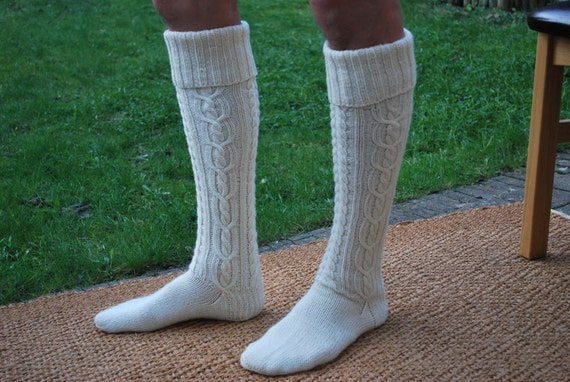 Extra long hand-knitted women/men socks (wool)