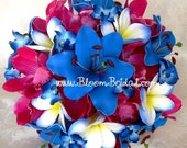 Real touch Lilies, Orchids & Plumerias bouquet in Fuchsia and Aqua blue