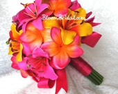 Real touch Fuchsia Orchids, hot pink Lilies, tangerine Lilies, and sunset orange Plumerias