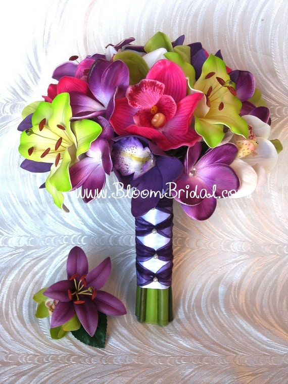 Real touch Orchids, Lilies & Plumerias Bouquet in purple, fuchsia and lime green.