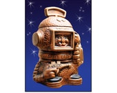 Cookie Jar Space Cadet, space man, retro, atomic, fun, unusual,retro Kitchen California Originals, brown, chocolate, cookies,