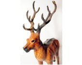 Leather caribou,large reindeer stag,figure,figurine,forest creature,woodland,cabin decor,rustic decor,cottage,collectible,regal,unique