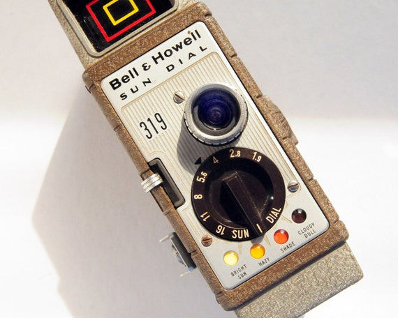 Video Camera, Bell and Howell 8mm Sun Dial, beige, tan, brown, 1960s Fun Retro Beauty
