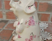 Shabby Vintage 1940s Piggy Bank Decorated With Cherry Blossoms