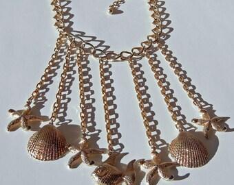 Vintage Boho Bib Necklace Waterfall Fringe Ocean Charms