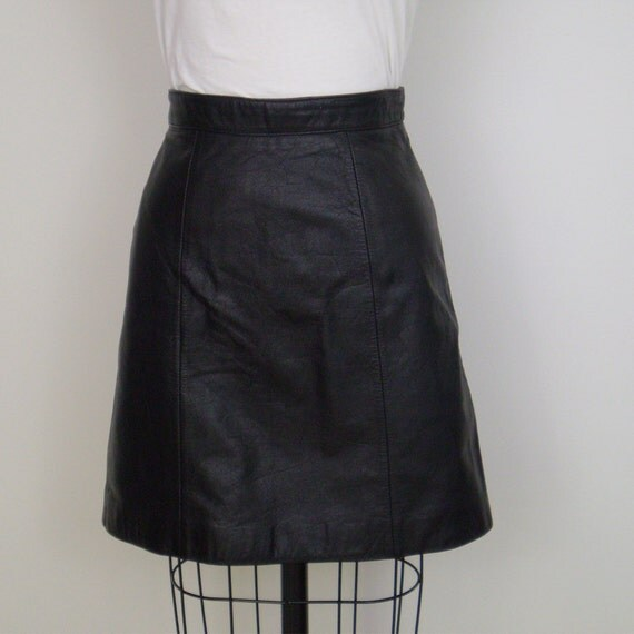 1980's Leather mini skirt On Sale Plus Free Shipping