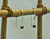 Ruby Earrings Sterling Silver Jewelry, Dangle, Bezel Setting, Cabochon, July Birthstone, Delicate