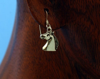 Horse Earrings, Sterlings Silver Ear Wire, Dangle, PMC Charm, Precious Metal Clay Jewelry