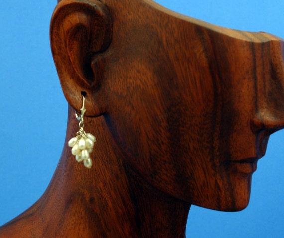 Pearl Earrings White Freshwater Grape Cluster Sterling Leverback Wedding June Birthstone