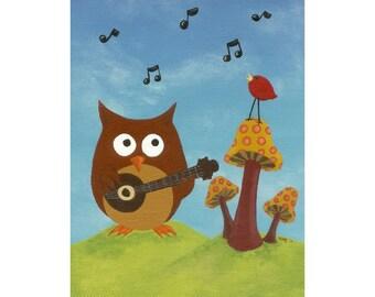 owl art, nursery art, kid room art, art print Hootz & the Redbirds at Mushroom Field Print with Mat from original owl art painting