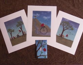 art print set, nursery art, kids room art, art set, bird art, baby art Redbird 3 pc Print Set with matching painted light switch cover