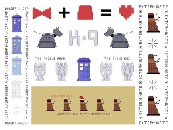 3 Doctor Who Bookmark Patterns - Your Choice