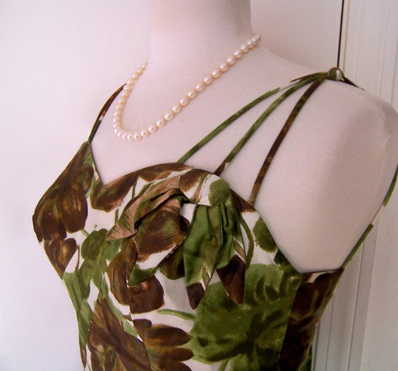 RESERVED vintage 50's tropical floral wiggle dress by Alix S/M