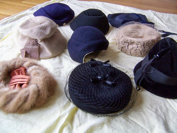 vintage women's hats hat lot 1930's thru 60's all nice