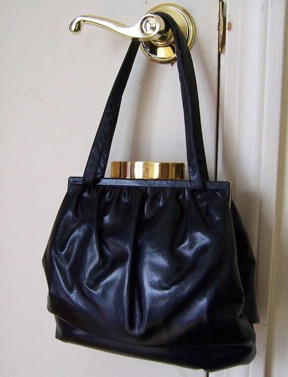 vintage 40s PICHEL navy leather double compartment purse handbag