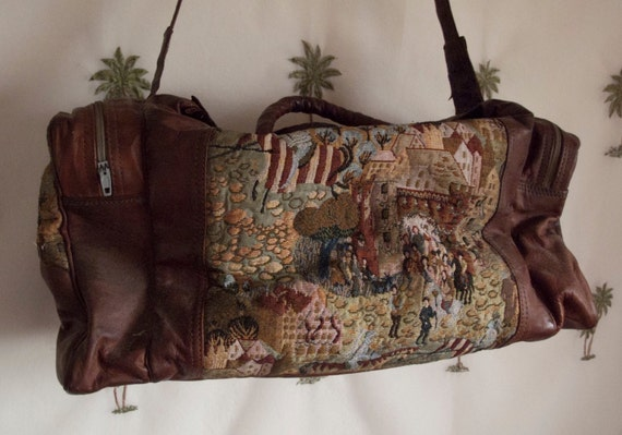 Carpet and Leather Weekend Duffel Bag from Morocco