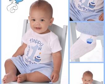 Birthday Number Boy Shirt and Shorts Set, 1st Birthday Shirt and Gingham Shorts, Boy's First Birthday Shirt and shorts set 1st 2nd 3rd
