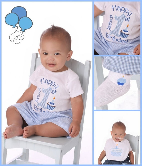Personalized Birthday Boys T-shirt or Onesie 1st Birthday Boy Shirt Top Custom made with a cupcake embroidery
