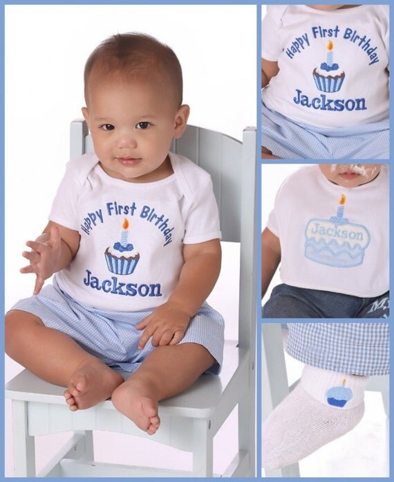 Birthday Boy Personalized Cupcake T-shirt First Birthday Boy Made to Match Birthday supplies Baby Blue Cupcakes Custom Made Outfit