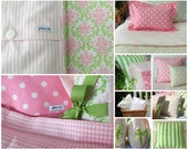 Duvet Cover & Euro Sham - Girls Bedding -  Twin Bedding - Full/Queen Available