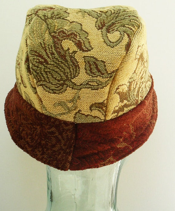 Cloche Hat Designer Floral Tapestry Fabrics Upcycled