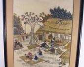 RESERVED Vintage Asian Art Print Framed
