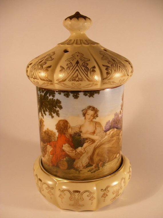 RESERVED Vintage Music Box Porcelain Container Limoges Style