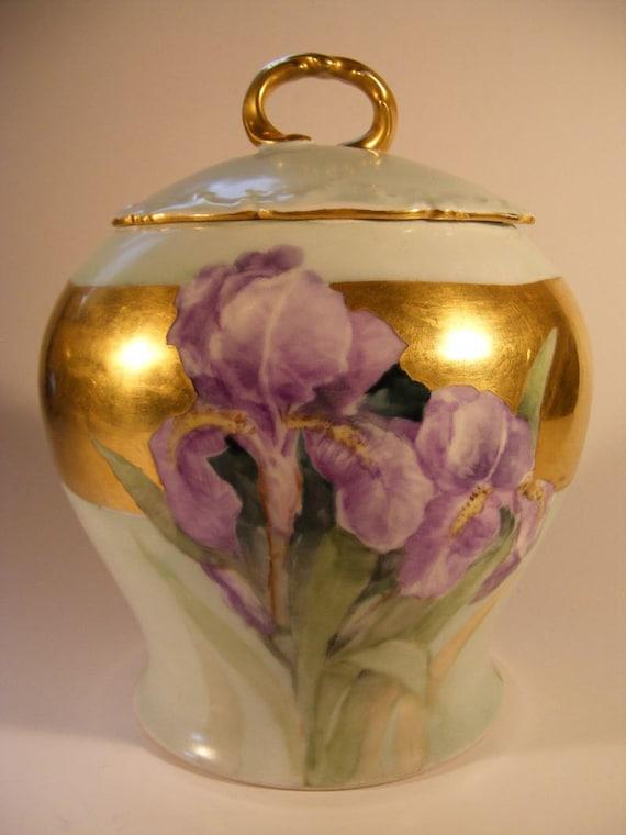 Antique Limoges Porcelain Biscuit Jar FRANCE 1883-1919