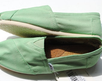Womens Custom Hand Painted TOMS in Mint Green