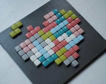 Tetris Mosaic Art- Tetris Love Heart Shaped Glass Mosaic Tile Wall Hanging of Tetris Heart