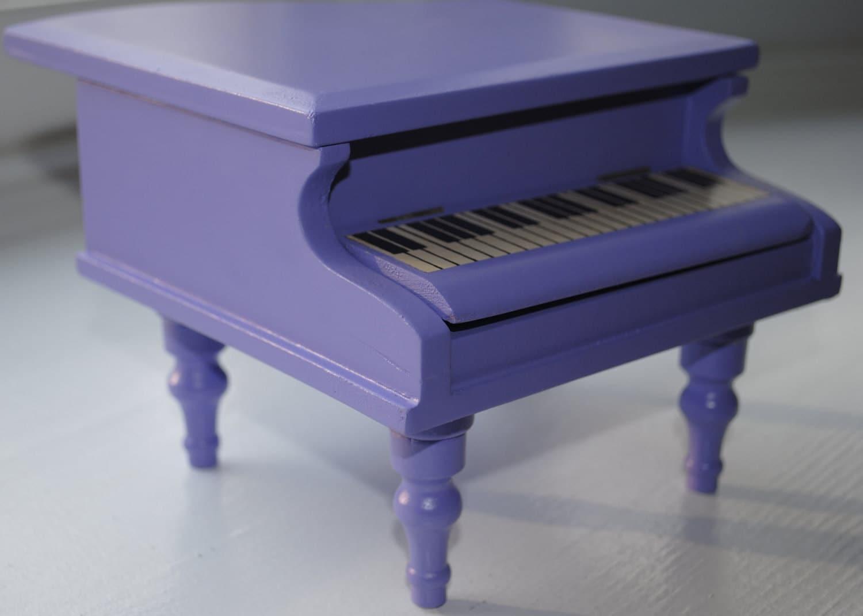 Purple Vintage Miniature Grand Piano Musical Jewelry Box