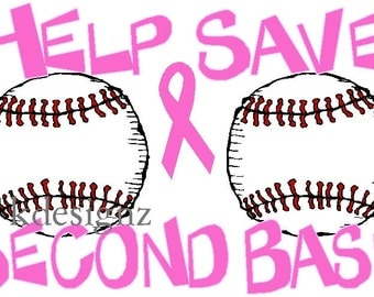 shirt decal Help Save 2nd Base iron-on transfer Breast Cancer awareness NEW by kustomdesignzbyk