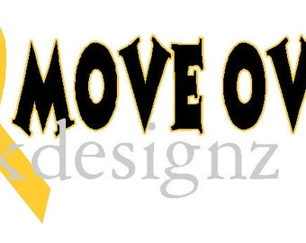 Move Over yellow ribbon iron on shirt decal