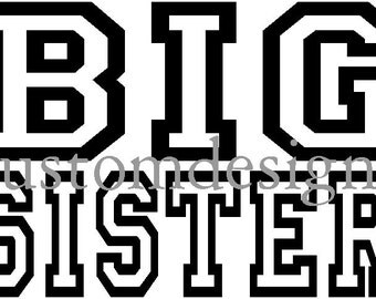Big Sister shirt decal transfer Jersey style design