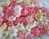 Coral, Yellow, Soft Pink and Cream  6-Lobed/Petal Flowers 3D  Edible Cupcake & Cake Fondant Toppers