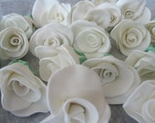 Beautiful Gumpaste Fondant Roses with Leaf Cake Decoration or Cupcake Toppers Rose Bud sold individually
