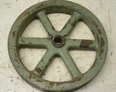 Rusty Old Cast Iron Industrial Factory Salvage Pulley Wheel