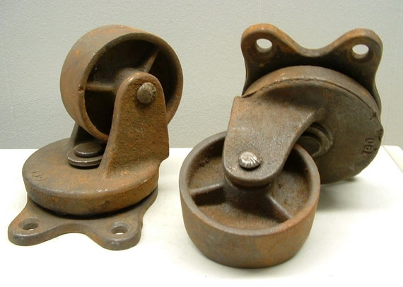 2 Old Rusty Industrial Factory Steampunk Iron Casters