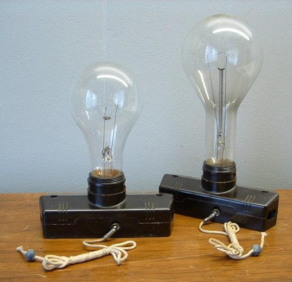 2 Old Vintage Bakelite Pull Chain Sockets Steampunk Lighting