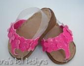 Doll shoes for American Girl -- Flip-flop style wedge-heel sandals, choose PINK or BLACK