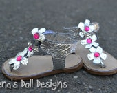 Doll shoes for American Girl -- silver flower sandals with pink rhinestones