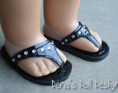 Doll shoes for American Girl --  Black Dressy Flip Flops with rhinestone bling