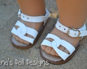 Doll shoes for American Girl -- White summer sandals
